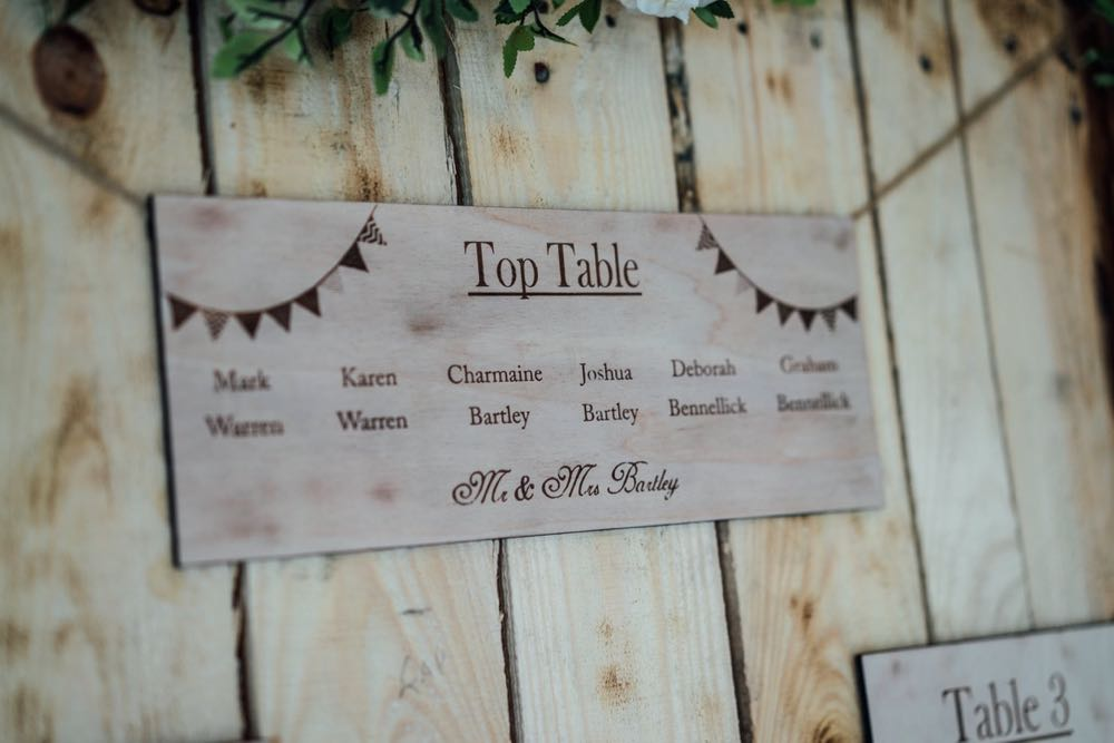 A close up shot of the tp table card on the table plan