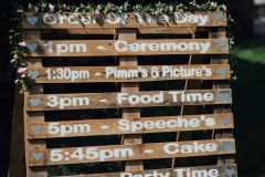 "A decor detail shot of a pallet which is being used as a ""order of the day\"""