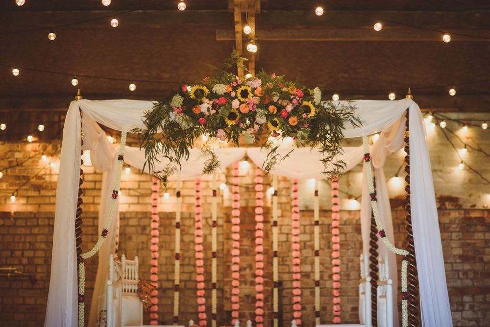 A mandap set up in the Really Rustic Barn