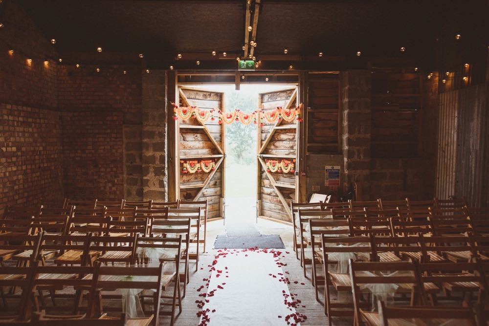The Realy Rustic Barn set up for a ceremony
