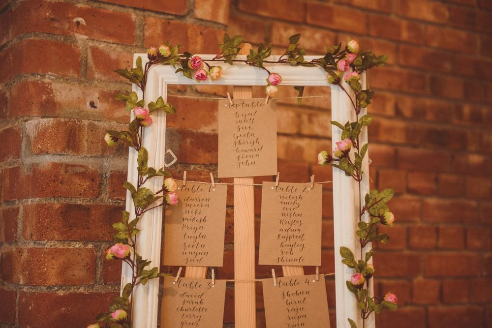This is an image of a table plan against a red brick wall. The table plan is framed with white picture frame entwined with pink roses. Each table is repersented by a buff card that has names written on it