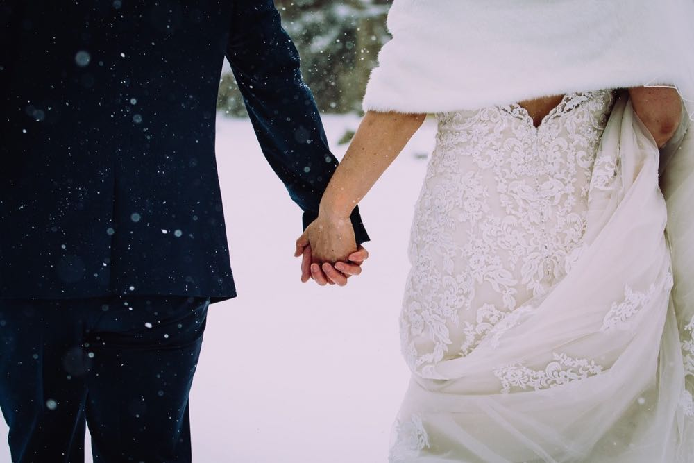 A close up of the couple holding hands outside in the snow