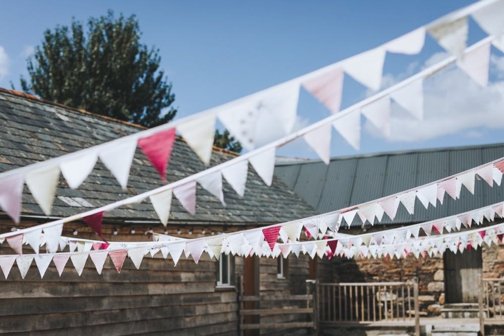 Bunting flapping in the courtyard