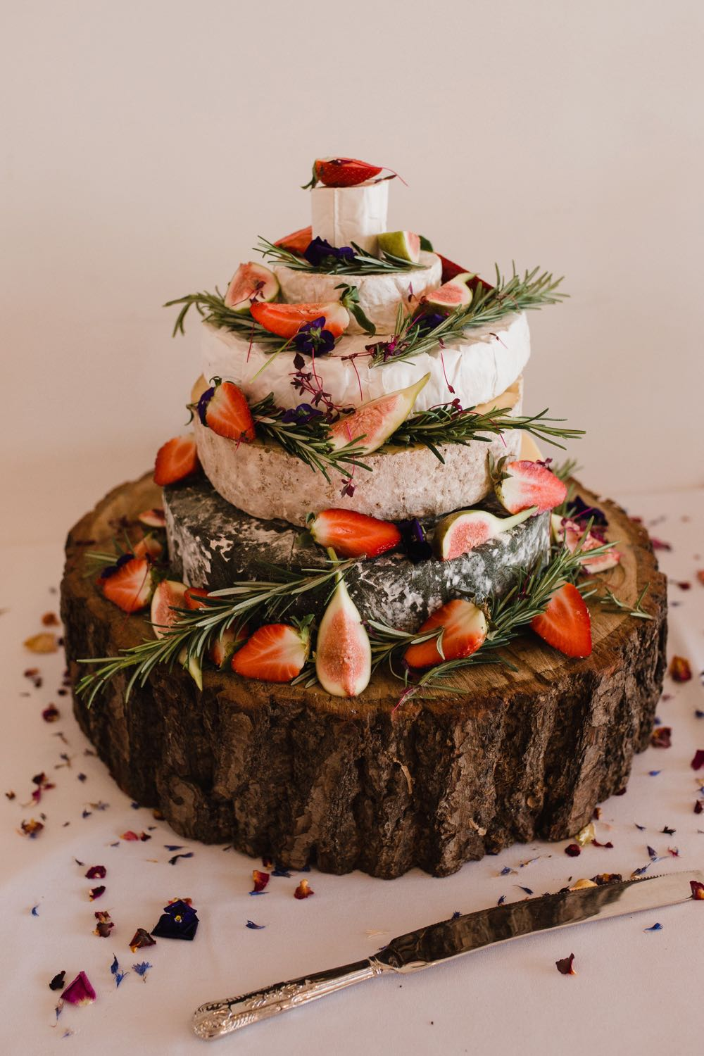 """TA close up shot of a """"cake of cheese' on a log slice decorated with rosemary and figs."""