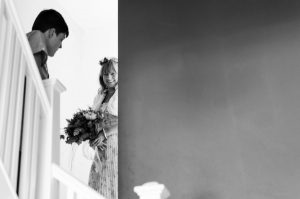 Bride coming down the stairs - The Green Cornwall
