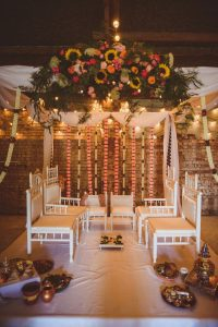 The Really Rustic Barn all setup for an Indian fusion wedding with a mandap