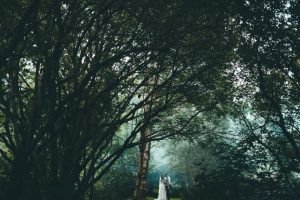 A couple are standing under a canopy of trees. The trees tower over them. The image is quite dark but the couple ar ein a pool of light. The bride is on the left and the grrom is on the right. The couple are in the bottom middle of the shot